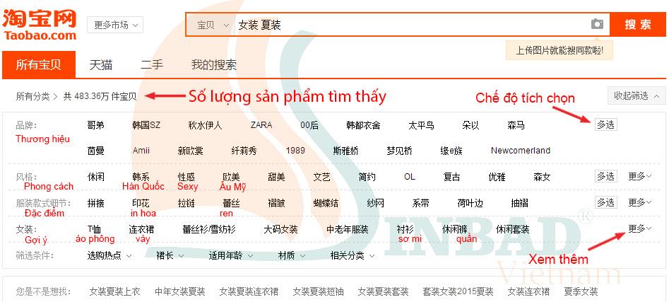 Phân loại sản phẩm trên taobao.com